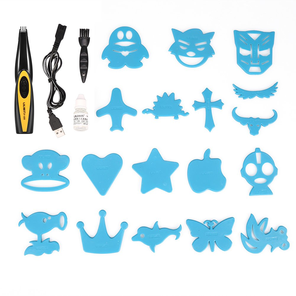 Electric Hair Clipper for Adults Kids Carving Hair USB Rechargeable Pattern Letter Hair Trimmer Yotown