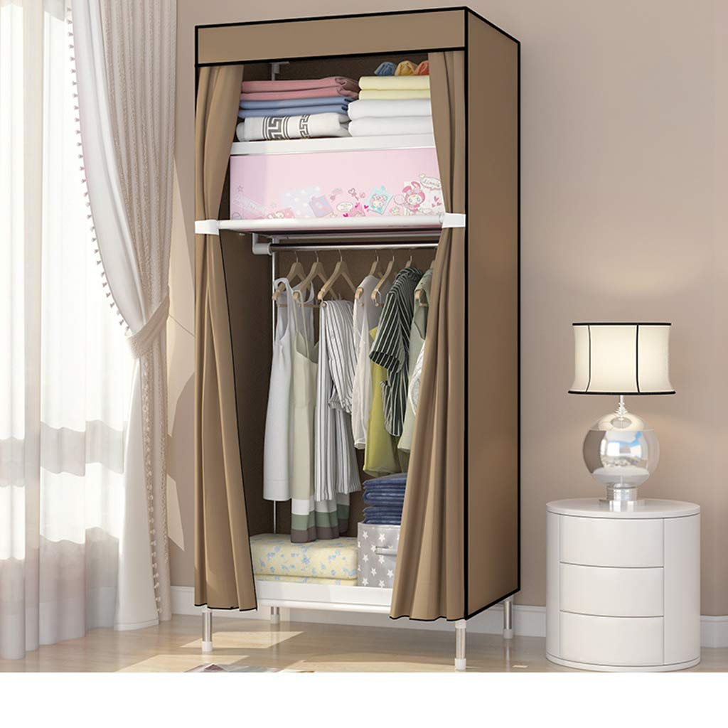 GX Simple Fabric Wardrobe, Modern And Simple Budget Dormitory Single Steel Tube Assembly Storage Cabinet storage organiser (Color : BROWN) GAOXINGSHANGPU