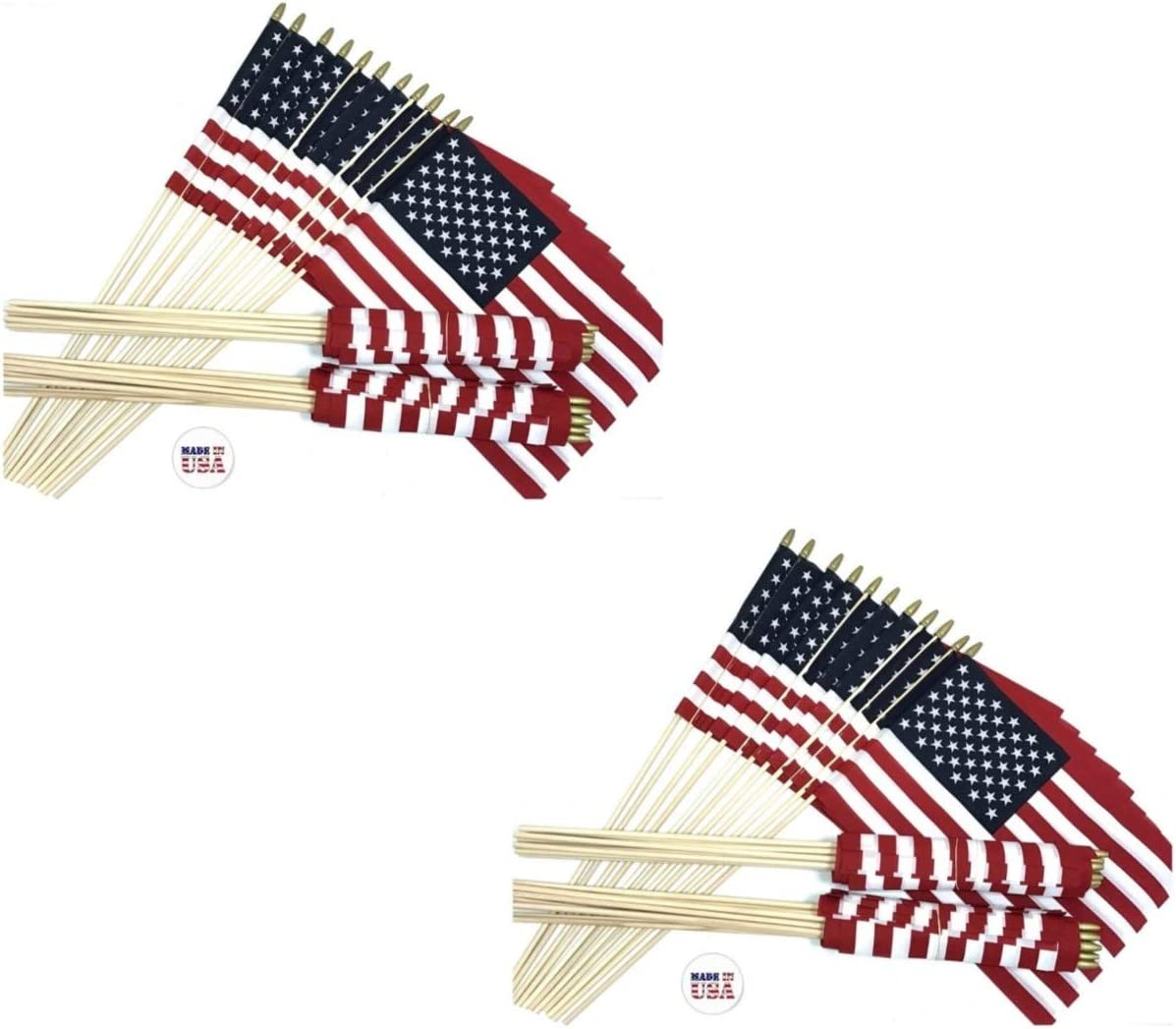 12x18 US Stick School Classroom Flags Made in The USA Beautiful Colors, American Made 12x18 Flag is Mounted on a 30 Wood Staff 12 Dozen