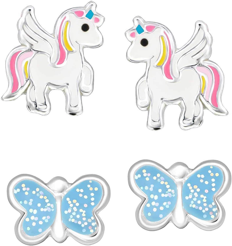 FIVE-D Lot de 2 Paires de Boucles doreilles pour Enfant Licorne et Papillons en Argent 925 dans Un /étui Cadeau