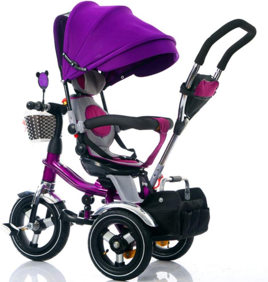 TH Triciclo para Niños Triciclo 4 En 1 con Barra De Empuje Extraíble Asiento Giratorio EVA Rueda 1-6 Años,E