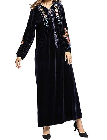 Vestido Largo para Mujer Musulmana - Falda Bordada de Manga Larga ...