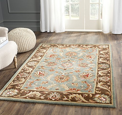Safavieh Heritage Collection HG812B Handcrafted Traditional Oriental Blue and Brown Wool Square Area Rug (6' Square) (Luxe Collection Blue)