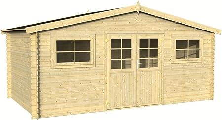 Gartenhaus Ulmus U17 - Casa de jardín de madera natural (28 mm, superficie de 17, 40 m², tejado de sillín): Amazon.es: Bricolaje y herramientas