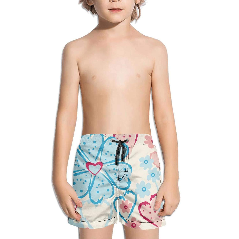 Ouxioaz Boys' Swim Trunk I Love Flower Floral Beach Board Shorts