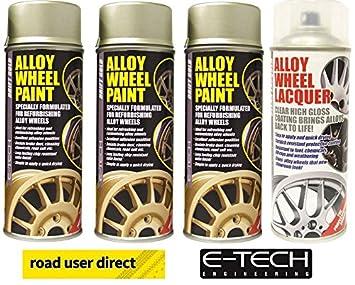 E-Tech 3 x Pintura para Llantas de Drift Oro y 1 x Laca Transparente