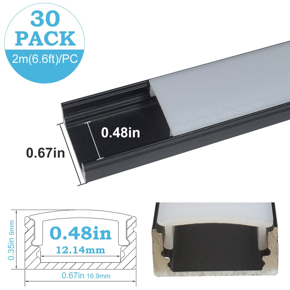 inShareplus 30Pack 6.6ft/2m LED Aluminum Channel Profile, Aluminum Extrusion with Oyster White Cover U-Shape Surface Mount for 8mm 10mm Single Row 3528 5050 LED Strip Lights Installation