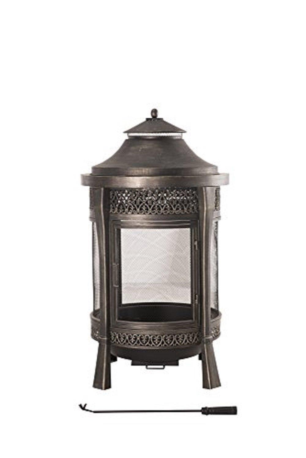 Sunjoy Large Cast Steel Outdoor Fireplace, 62'', Brown