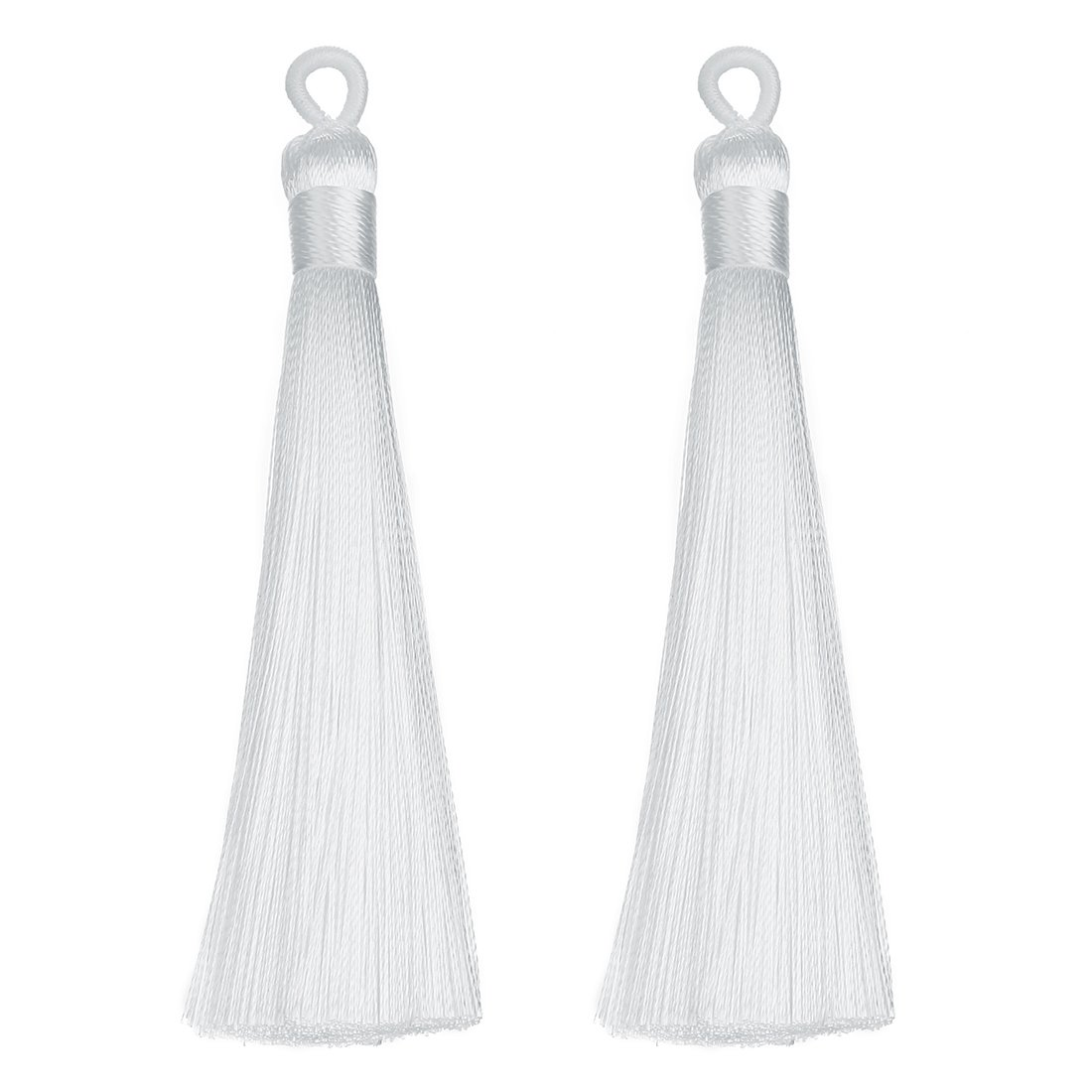 Linsoir Beads 3.5 Long Loop Silk Tassels with Solid Binding Handmade Decorative Tassels Jewelry Tassels Adornments Passementerie 10 pcs//lot