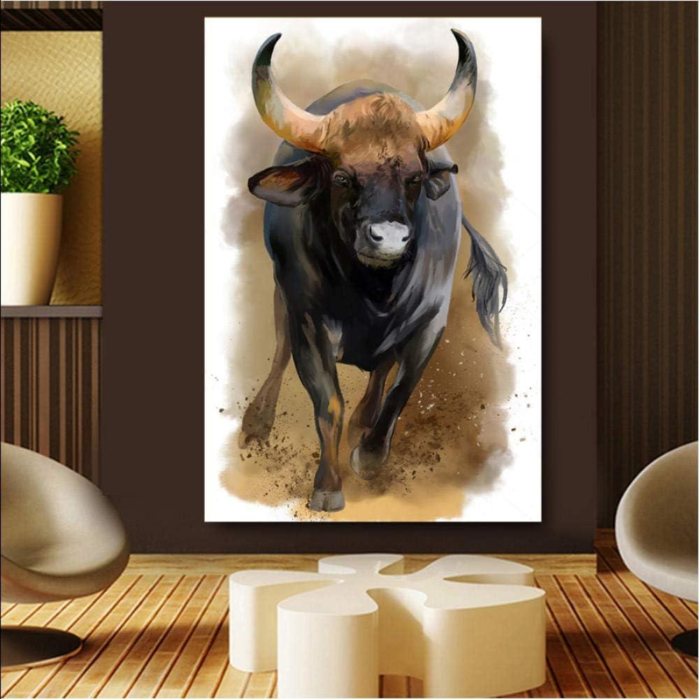 Knncch Venta caliente acuarela toro animales HD carteles de pared para decoración del hogar impresión lienzo pintura al óleo para sala de imágenes-30x40cm