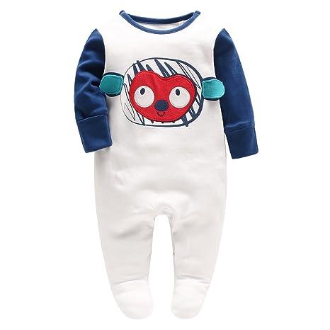 Recién nacido Niños Pijama Algodón Mameluco Footed Peleles Sleepsuit Trajes, Azul 0-3 Meses