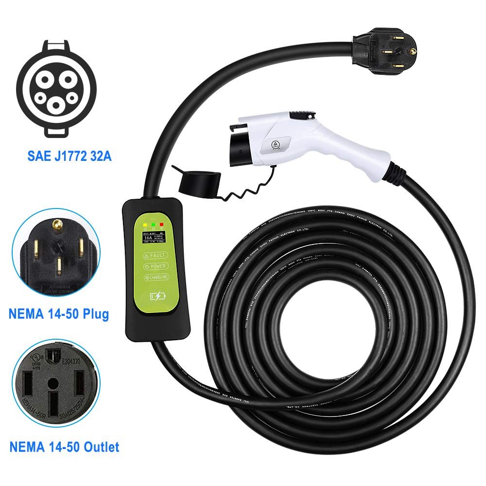 for Chevy Volt WonVon Level 2 EV Charger,100V-240V,16A,J1772 Portable EVSE Home Indoor Electric Vehicle Charger with NEMA 5-15 Plug,24.6FT Cable 7.5m