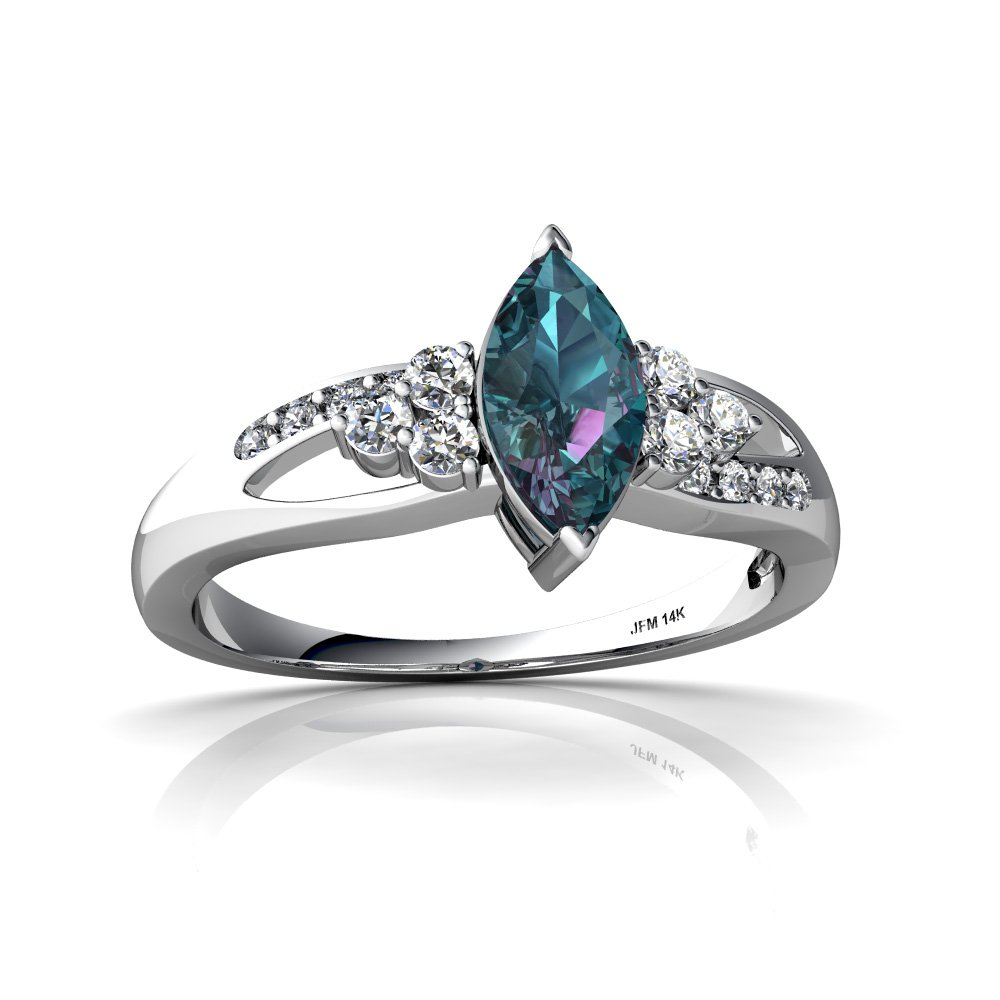 14kt White Gold Lab Alexandrite and Diamond 8x4mm Marquise Antique Style Ring - Size 6