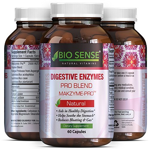 Pure Digestive Enzyme Capsules with Lipase Amylase Protease - Aids Digestive System Natural Immune System Booster - Breaks Down Carbohydrates Reduce Bloating Gas Digestive Enzymes Pills by California Products