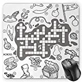 BGLKCS Word Search Puzzle Mouse Pad by, Colorless Pirates Themed Educational Puzzle Treasure Map and Icons, Standard Size Rectangle Non-Slip Rubber Mousepad, Grey Black White