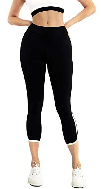 Capri Yoga Leggings Pants for Women High Waist Striped Workout Spandex Black DolphinHem