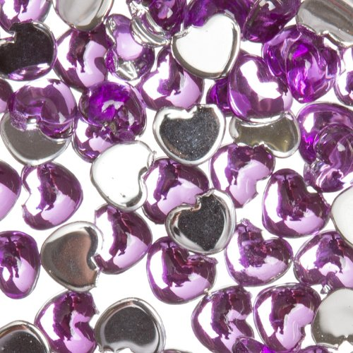 (Zink Color Nail Art Acrylic Rhinestone Deep Purple Heart 100 Piece Embellishment)