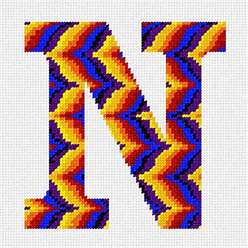 pepita Letter N Bargello Sunset Needlepoint Canvas