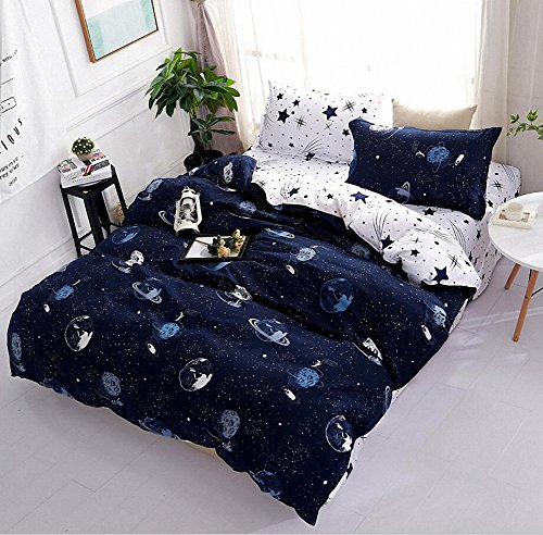 Space Star Bedding For Kids Boys Girls Bedding Sets Super Soft Bed Sheet Set Microfiber 4PCS Bed Sheets Sets by STFLY (Space Galaxy, Full/Queen)