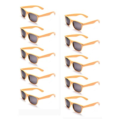 10 Neon Colors Unisex Wholesale Sunglasses for Kids Party Favor Supplies (10Yellow): Clothing