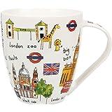 James Sadler - Taza (porcelana fina), diseño de motivos de Londres, multicolor