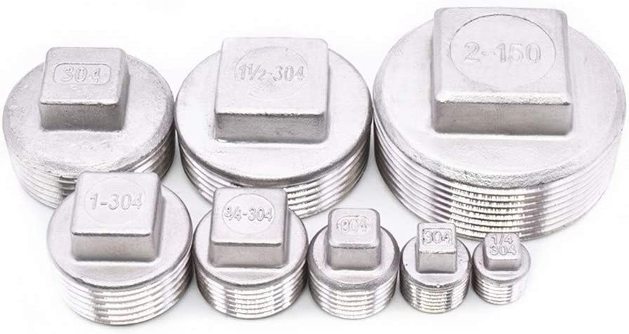 Juijnkt Stainless Steel 304 1//4 3//8 1//2 3//4 1 1-1//4 1-1//2 BSP Male Thread Pipe Fitting Square Head Plug SS304 DN6
