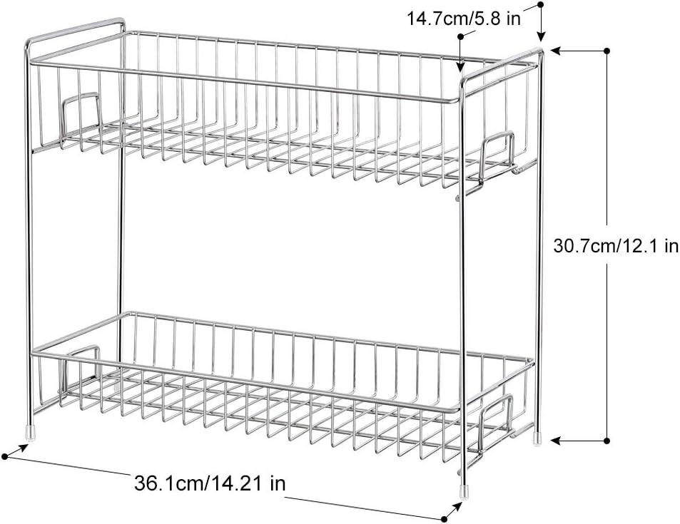 Marr/ón Especiero Organizador de Encimera de Cocina de 2 Niveles para Frascos Botellas 36.1cm x 30.7cm x 14.7cm