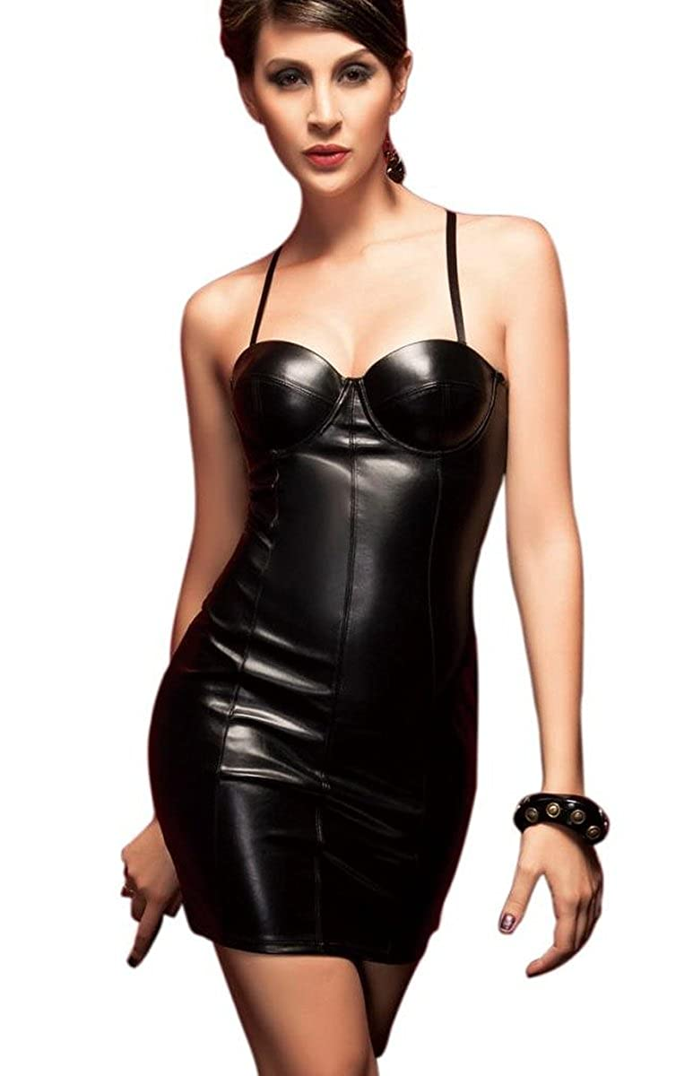 Blidece Women's PU Leather Back Zipper Exotic One-piece Corsets Nightclub Club BLS4262