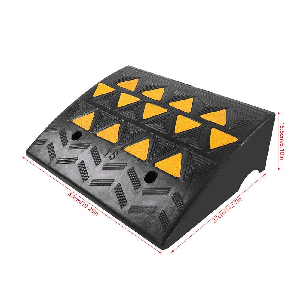 inch L x15 2Pcs Threshold Ramp for Wheelchairs 6.3 High Rubber Curb Ramps with Slip-Resistant Surface for Mobility Scooters and Power Chairs,19.69 W