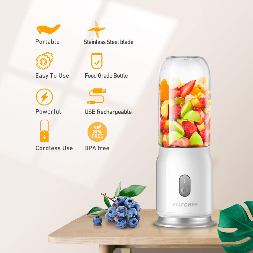 JUSCHEF Portable Blender- Battery Operated Blender- Travel Blender with shakes and smoothies, USB Recharging, Detachable Cup FDA BPA-Free
