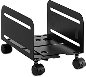 Mount-It! Rolling CPU Stand with Wheels, Heavy Duty Desktop Computer Tower Cart with Ventilation and Adjustable Width from 4.87 to 8.5 Inches, Steel