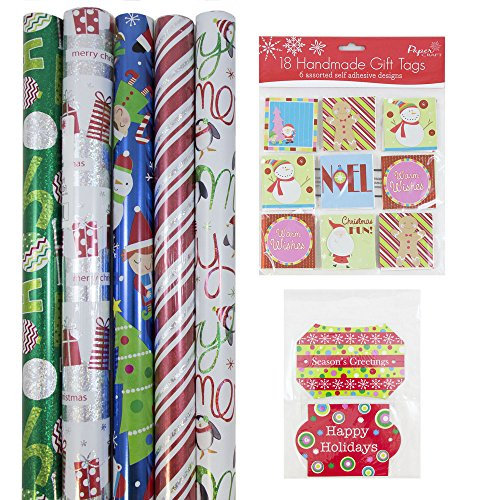 JAM Paper Gift Wrapping Bundle - Playful Christmas - 5 Rolls of Wrapping Paper (125 sq ft) / 2 Packs of Gift Tags