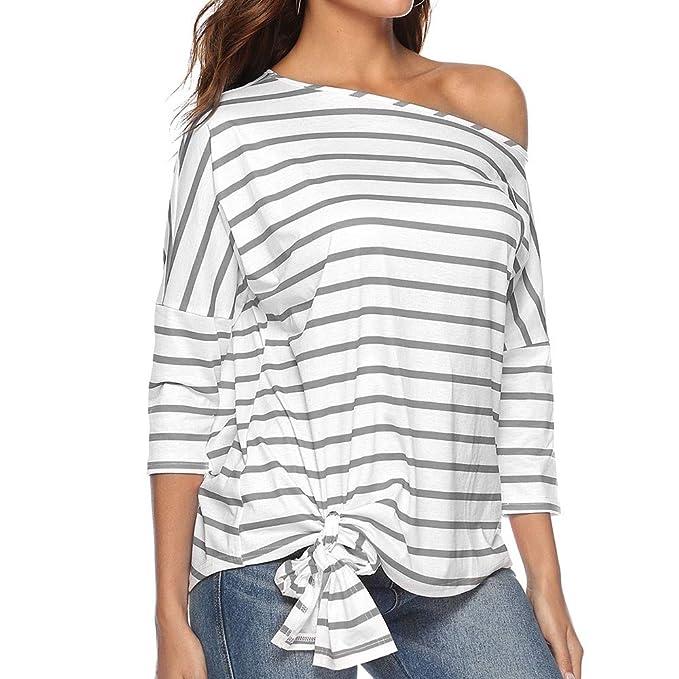 STRIR 2018 Blusa Mujer Elegante Sexy Camiseta de Mujer a Rayas con Hombros Descubiertos Camisetas Casuales