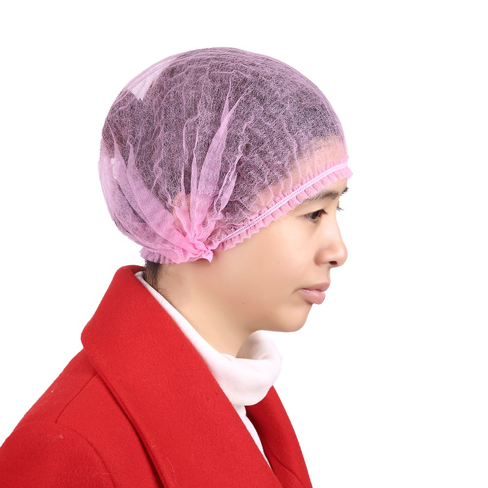 UCOSHIER Disposable Non-woven Hair Net Dust Caps Elastic - 100 per Bag New(UA007Pink)