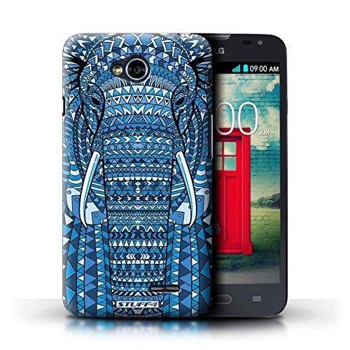 Kobalt® Imprimé Etui / Coque pour LG L70/D320 / éléphant-Bleu conception / Série Motif Animaux Aztec