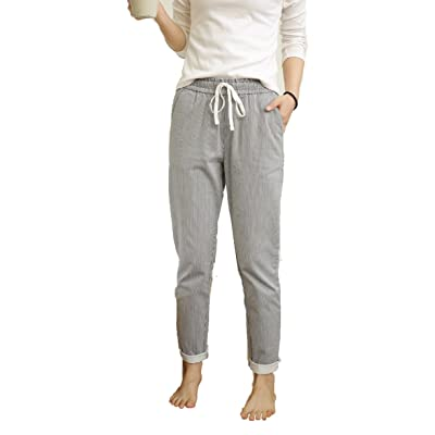 100% Cotton Women's Casual Pants with Drawstring Waist (Two colors optional: Vertical Stripes or Gray Lattice)