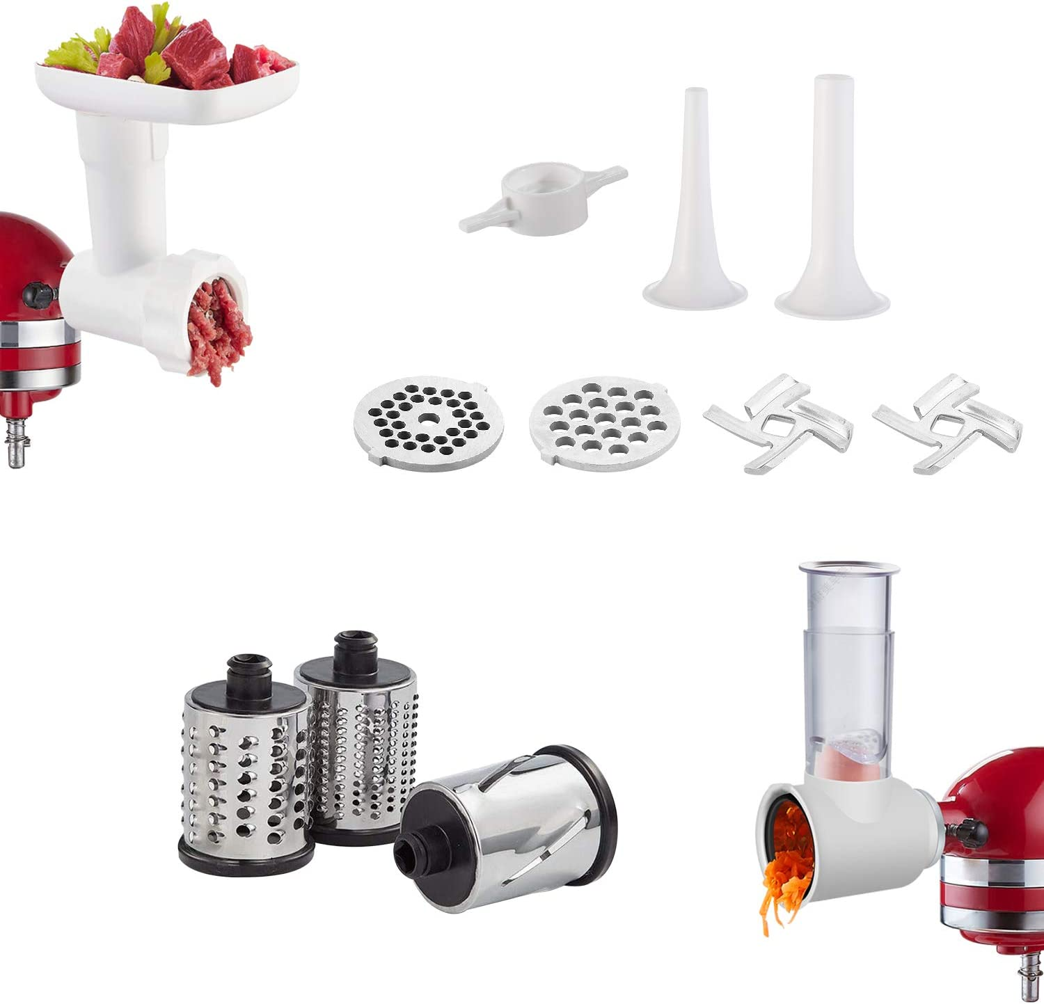 2 in 1 Slicer/Shredder & Food Grinder Attachment for KitchenAid Stand Mixers, Durable Accessory Set with 2 Sausage Stuffer Tubes, 3 Cutting Blades, 2 Grinding Plates, 2 Blades (White)