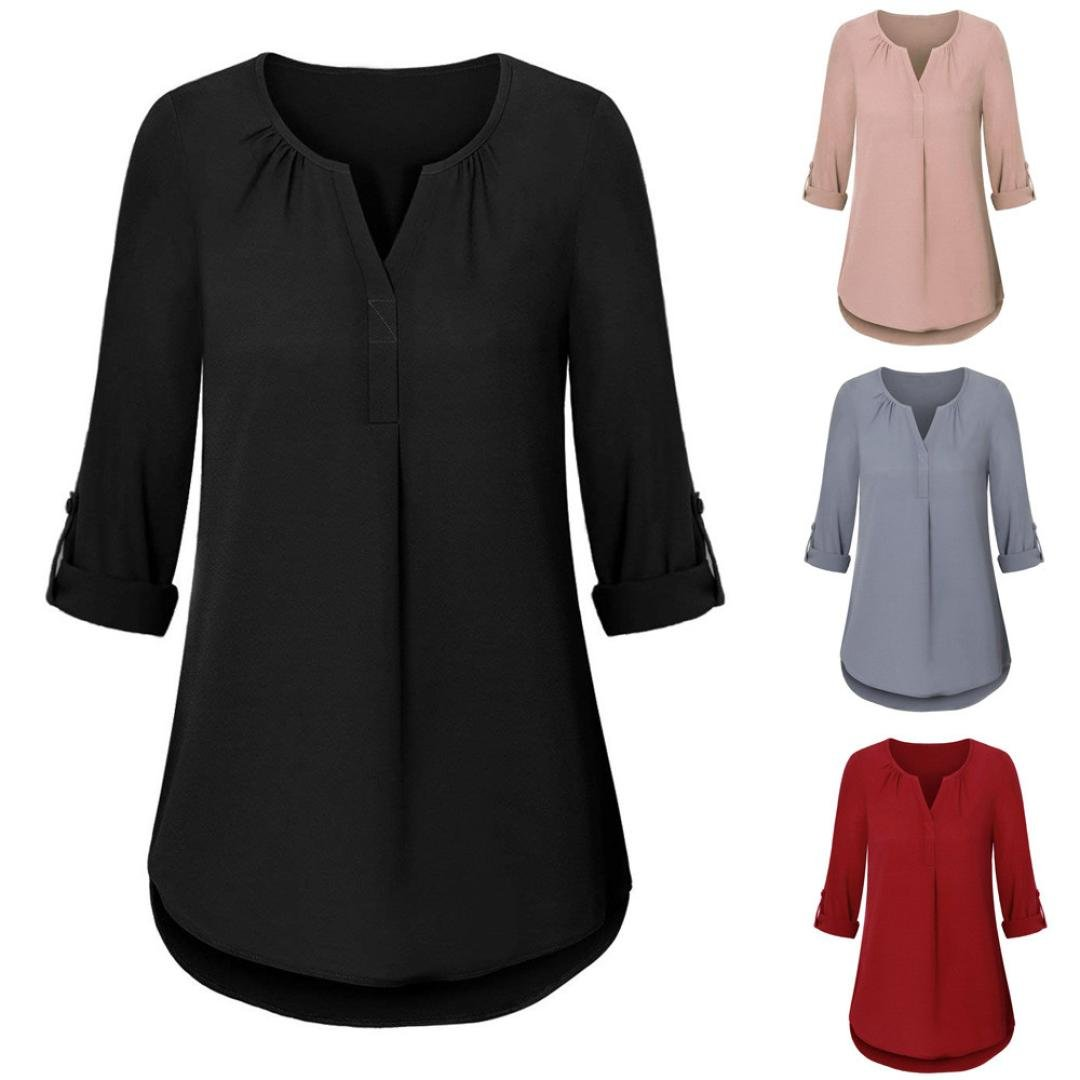 0636cf86a2bcd 2018 Autumn Womens Long Sleeve Roll-up Top Casual V Neck Layered Shirt  Blouses by-NEWONESUN at Amazon Women s Clothing store