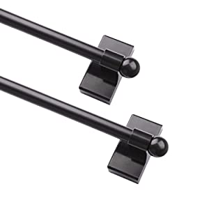 WL.Rocaille Adjustable Magnetic Rods for Mental Appliance, Doors, Windows, 9 to 16 Inch/4 Pack/Easy Installation Toilet Towel Bar, Muti-Useful (Black, 2pack)