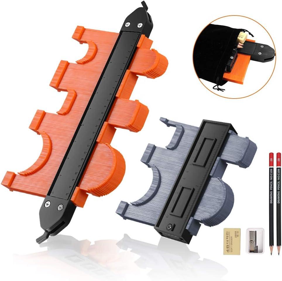 Shape Contour Gauge Duplicator with Locking Mechanism 10 inch /& 5 inch Widen Contour Gauge Profile Tool for Precise Measurement Corners Tiling Laminate Piping Gauge Woodworking Tools Contour Gauge