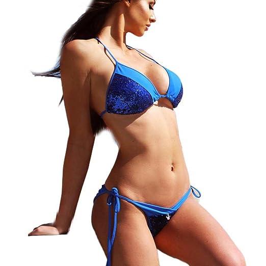 5cbe70c90e819 Sunward Women s Sexy Bling Sequin Bikini set Triangle Top Tie Side Bottom  Padded Swimsuit (S