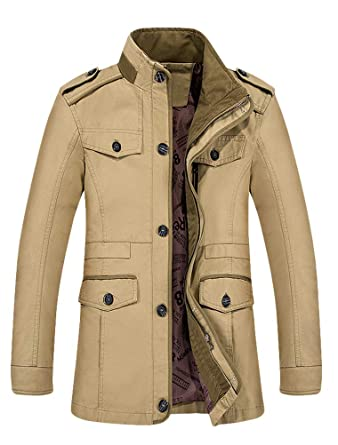 1740f614eab7 Mallimoda Herren Mantel Slim Fit Wolljacke Übergröße Business Windbreaker  Lange Trenchcoat Jacken