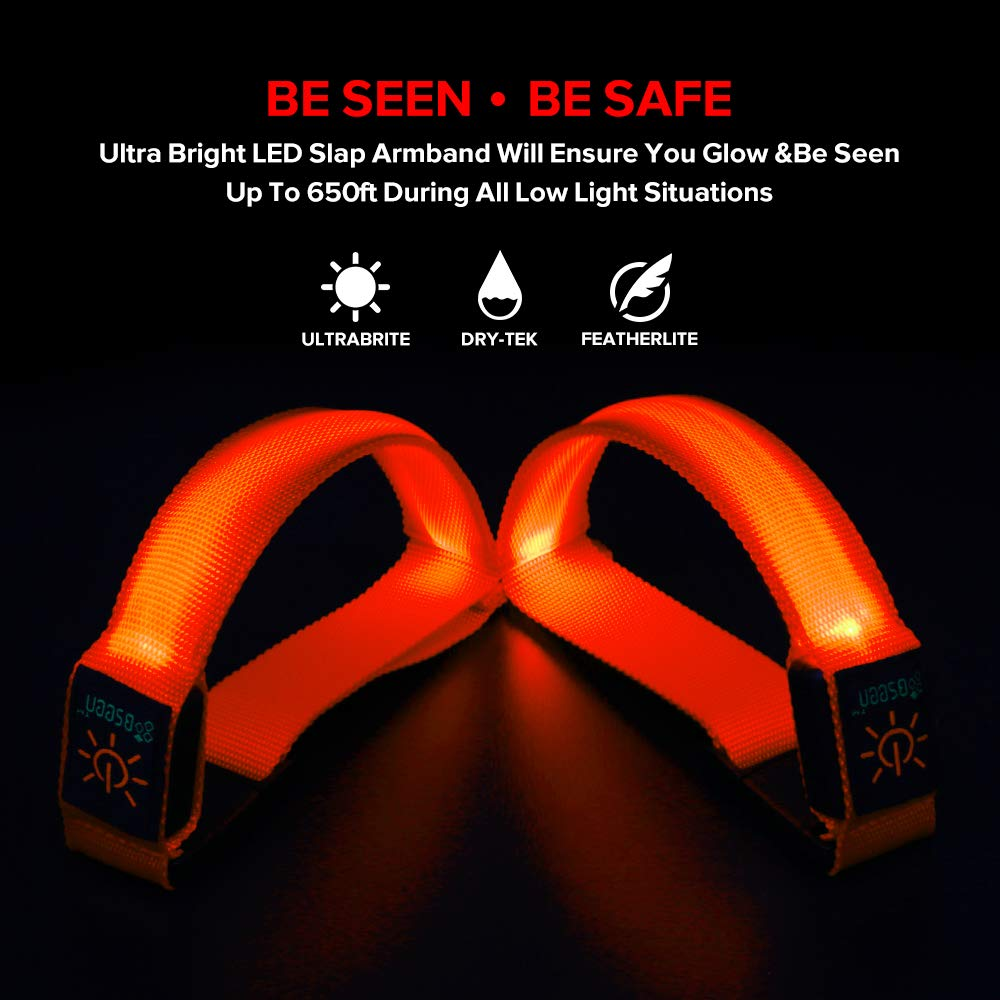 BSEEN 1 Pack for 2 PCS LED Armband, Running armabnd, led Bracelet Glow in The Dark-Safety Running Gear.Use (Fluorescent Orange) by BSEEN