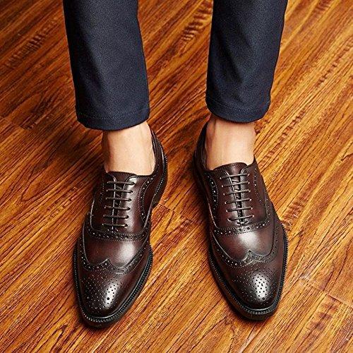 Classique Cuir Soirée En à Derby Hommes Pour Work Work ups Chaussures Mariage Chaussures MERRYHE Brogues à Lacets Formelle Carve Carré Brown Lace Le Lacets Gentleman 4nXTnqf