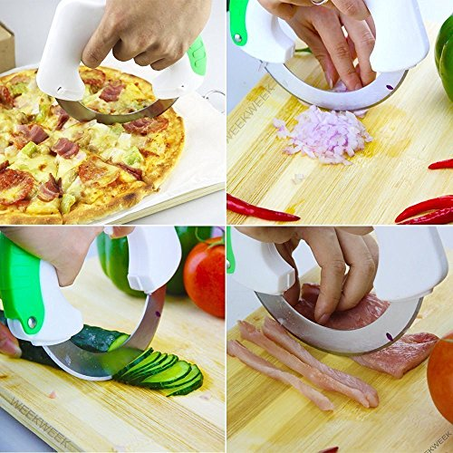 DOUBLE-PACK-2-Circular-Rolling-Knife-Multi-Purpose-Cutting-Tool-with-Unique-Ergonomic-Design-FAST-EASY-for-cutting-Meat-Salad-Pizza-Vegetables-Protect-your-wrist-with-this-Rolling-Knife