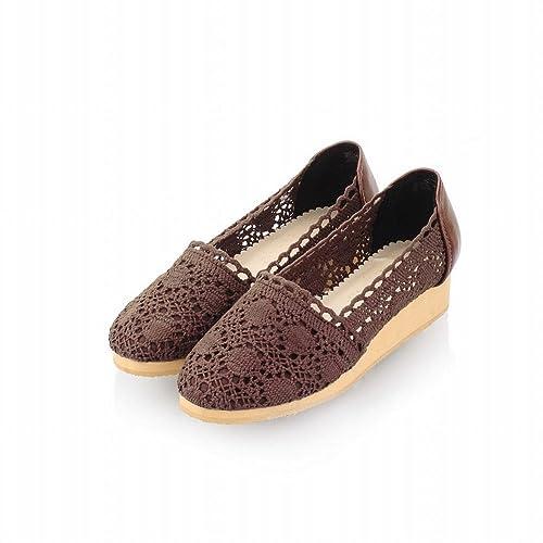 e041b4df7b4c9 Latasa Mujer Moda Casual sintética de lana para tejer bajo cuña talón  Alpargata cuñas de zapatos