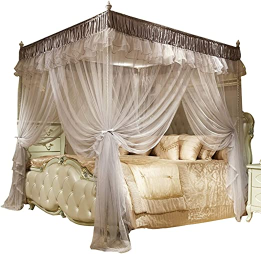 Home 4 Corner Bed Curtain Canopy Mosquito Netting+Bracket Frame Post Queen Size