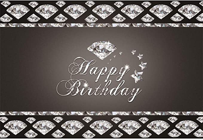 GoEoo 10x7ft Happy Birthday Vinyl Photography Background Low Key Luxurious Diamonds Decors Birthday Backdrop Child Adult Birthday Banner Wallpaper Studio Props