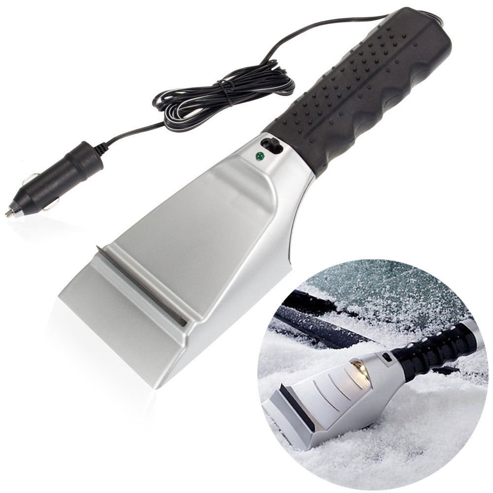 Edxtech Heated Auto Electric Windshield Ice Scraper W/Flashlight Snow Melter Removal Car