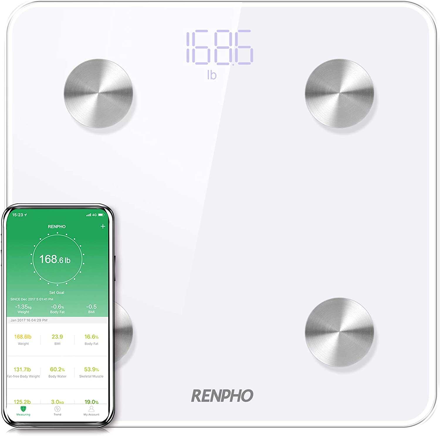 RENPHO Bluetooth Body Fat Scale Smart Digital Bathroom Weight BMI Scale Body Composition Monitor Analyzer with Smartphone App 396 lbs – White